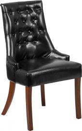 Marvelius Patrick Series Black Leather Tufted Chair