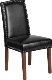 Marvelius Hammond Series Black Leather Parsons Chair with Silver Accent Nail Trim