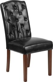 Marvelius Wolfe Series Black Leather Tufted Parsons Chair