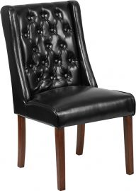 Marvelius Kenwei Series Black Leather Tufted Parsons Chair
