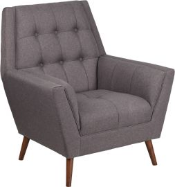 Marvelius Kate Series Contemporary Gray Fabric Tufted Arm Chair