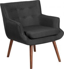 Marvelius Kalynn Series Black Fabric Tufted Arm Chair