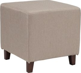 Sussie Upholstered Ottoman Pouf in Beige Fabric