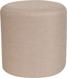 Merelyn Upholstered Round Ottoman Pouf in Beige Fabric