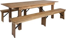 Marvelius Series 8' x 40'' Antique Rustic Folding Farm Table and Two Bench Set