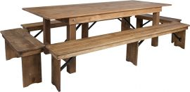 Marvelius Series 8' x 40'' Antique Rustic Folding Farm Table and Four Bench Set