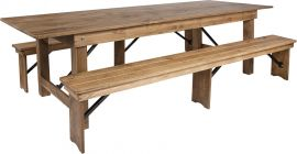 Marvelius Series 9' x 40'' Antique Rustic Folding Farm Table and Two Bench Set