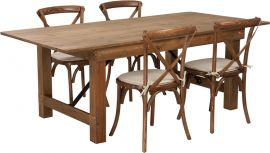 Marvelius Series 7' x 40'' Antique Rustic Folding Farm Table Set with 4 Cross Back Chairs and Cushions