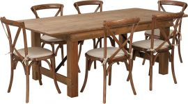 Marvelius Series 7' x 40'' Antique Rustic Folding Farm Table Set with 6 Cross Back Chairs and Cushions