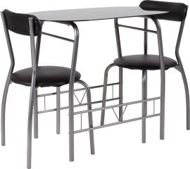 Suzan 3 Piece Space-Saver Bistro Set with Black Glass Top Table and Black Vinyl Padded Chairs