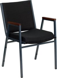 Marvelius Series Heavy Duty Black Dot Fabric Stack Chair with Arms