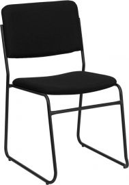 Marvelius Series 1000 lb. Capacity High Density Black Fabric Stacking Chair with Sled Base