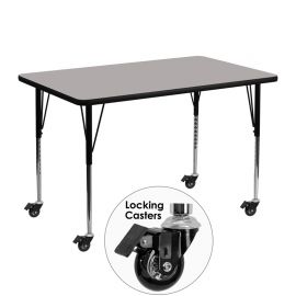 Mobile 30''W x 48''L Rectangular Grey HP Laminate Activity Table - Standard Height Adjustable Legs