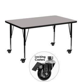 Mobile 30''W x 48''L Rectangular Grey HP Laminate Activity Table - Height Adjustable Short Legs
