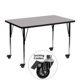 Mobile 30''W x 48''L Rectangular Grey Thermal Laminate Activity Table - Standard Height Adjustable Legs