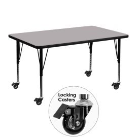 Mobile 30''W x 48''L Rectangular Grey Thermal Laminate Activity Table - Height Adjustable Short Legs