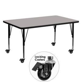 Mobile 30''W x 60''L Rectangular Grey HP Laminate Activity Table - Height Adjustable Short Legs