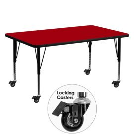 Mobile 30''W x 60''L Rectangular Red Thermal Laminate Activity Table - Height Adjustable Short Legs