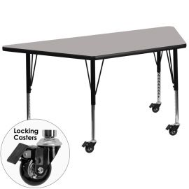 Mobile 29.5''W x 57.25''L Trapezoid Grey HP Laminate Activity Table - Height Adjustable Short Legs