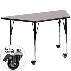 Mobile 29.5''W x 57.25''L Trapezoid Grey Thermal Laminate Activity Table - Standard Height Adjustable Legs