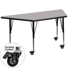 Mobile 29.5''W x 57.25''L Trapezoid Grey Thermal Laminate Activity Table - Height Adjustable Short Legs