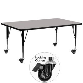 Mobile 30''W x 72''L Rectangular Grey HP Laminate Activity Table - Height Adjustable Short Legs
