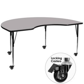 Mobile 48''W x 72''L Kidney Grey Thermal Laminate Activity Table - Standard Height Adjustable Legs