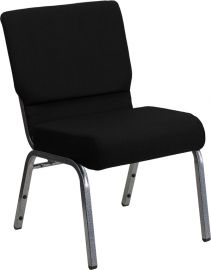 Marvelius Series 21''W Stacking Church Chair in Black Fabric - Silver Vein Frame