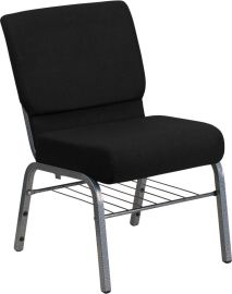 Marvelius Series 21''W Church Chair in Black Fabric with Book Rack - Silver Vein Frame