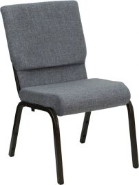 Marvelius Series 18.5''W Stacking Church Chair in Gray Fabric - Gold Vein Frame