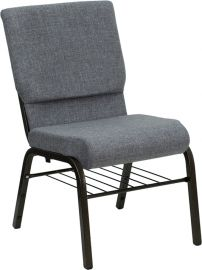 Marvelius Series 18.5''W Church Chair in Gray Fabric with Book Rack - Gold Vein Frame
