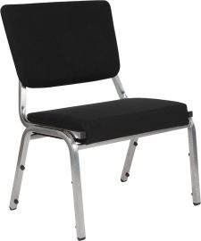 Marvelius Series 1500 lb. Rated Black Fabric Bodenatric Medical Reception Chair with 3/4 Panel Back