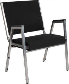 Marvelius Series 1500 lb. Rated Black Fabric Bodenatric Medical Reception Arm Chair