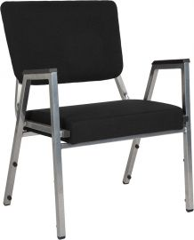 Marvelius Series 1500 lb. Rated Black Fabric Bodenatric Medical Reception Arm Chair with 3/4 Panel Back