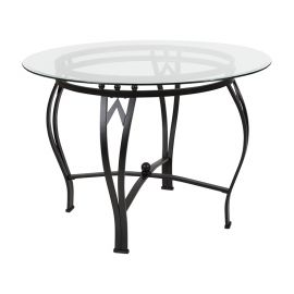 Syreeta 42'' Round Glass Dining Table with Black Metal Frame
