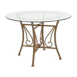 Prisca 42'' Round Glass Dining Table with Matte Gold Metal Frame