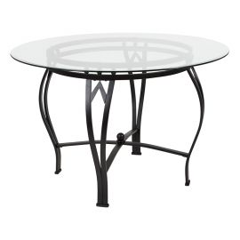 Syreeta 45'' Round Glass Dining Table with Black Metal Frame