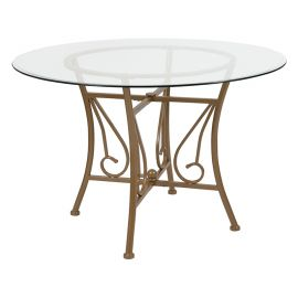 Prisca 45'' Round Glass Dining Table with Matte Gold Metal Frame