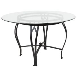 Syreeta 48'' Round Glass Dining Table with Black Metal Frame