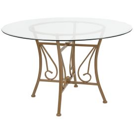 Prisca 48'' Round Glass Dining Table with Matte Gold Metal Frame