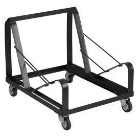 Marvelius Series Black Steel Sled Base Stack Chair Dolly