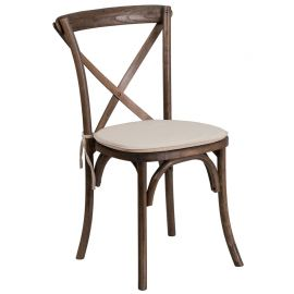 Marvelius Series Stackable Early American Wood Cross Back Chair with Cushion