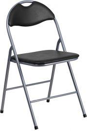 Marvelius Series Black Vinyl Metal Folding Chair with Carrying Handle