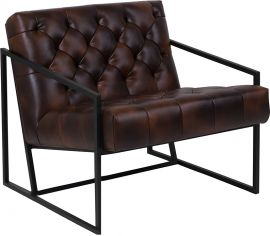 Marvelius Hardy Series Bomber Jacket Leather Tufted Lounge Chair