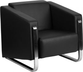 Marvelius Admire Series Contemporary Black Leather Chair with Stainless Steel Frame