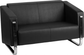 Marvelius Admire Series Contemporary Black Leather Loveseat with Stainless Steel Frame