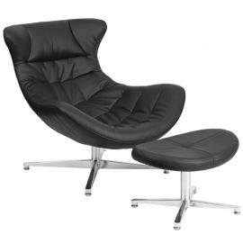Black Leather Cocoon Chair with Ottoman
