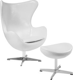 Melrose White Leather Egg Chair with Tilt-Lock Mechanism and Ottoman