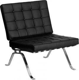 Marvelius Haven Series Black Leather Lounge Chair with Curved Legs