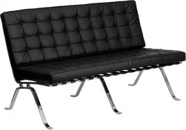 Marvelius Haven Series Black Leather Loveseat with Curved Legs